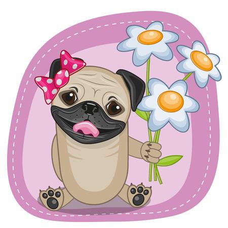 personas saludandose: Tarjeta de felicitación del perro del barro amasado con flores