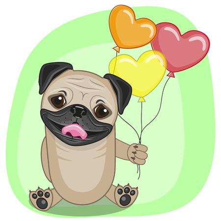 Grußkarte Mops-Hund mit Luftballons Standard-Bild - 34568748