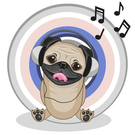 Cute cartoon Pug Dog with headphones Vector