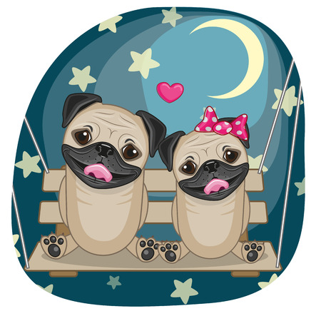 Valentine card with Lovers Pug Dogs on the swing Vector