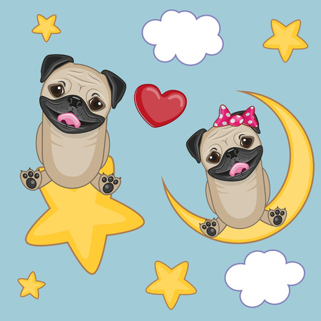 Valentine card with Lovers Pug Dogs