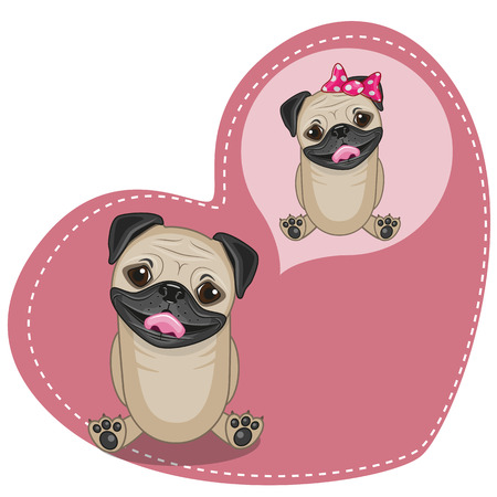 pug dog: Greeting card Cute Dreaming Pug Dog
