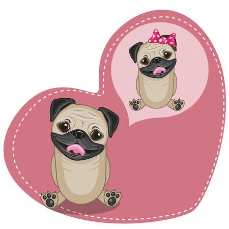 Greeting card Cute Dreaming Pug Dog