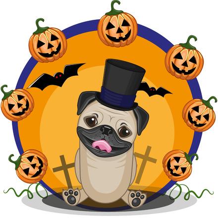 Halloween-Abbildung der Cartoon-Mops-Hund mit Kürbis Standard-Bild - 34568778