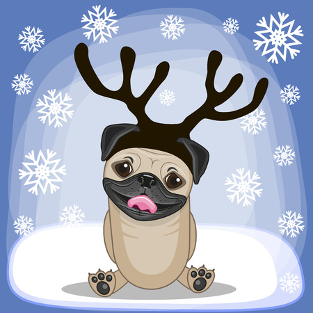 pug nose: Christmas illustration of cartoon Pug Dog with antlers