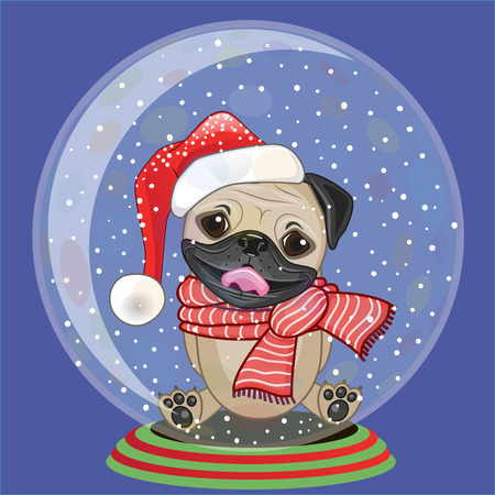 Christmas illustration of cartoon Pug Dog in a Santas hat in a glass bowl