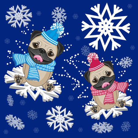 Two Pug Dogs at the snowflakes Vector