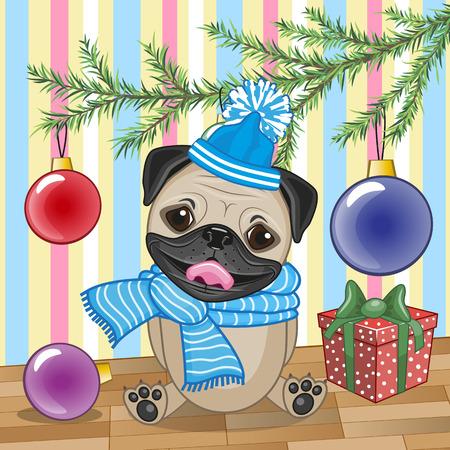 dog christmas: Cute Pug Dog under the Christmas tree Illustration