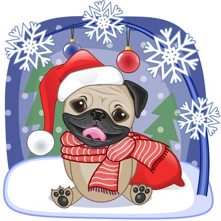 christmas hat: Christmas illustration of cartoon Santa Pug Dog Illustration