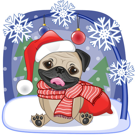 Christmas illustration of cartoon Santa Pug Dog Illustration