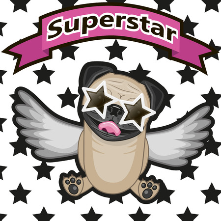 eyes wide open: Pug Dog with star glasses on the background of stars Illustration