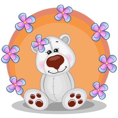 Greeting card Polar Bear with flowers Vector