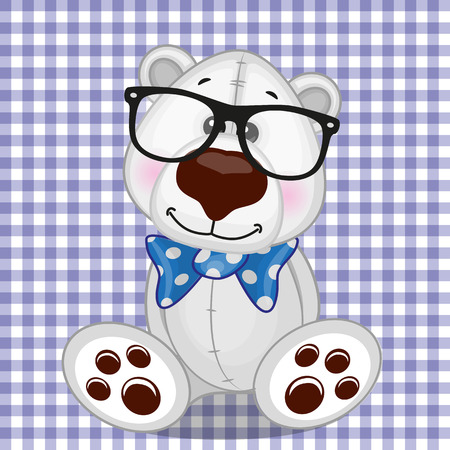 teenagers only: Hipster Polar Bear on a plaid background