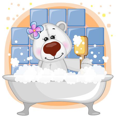 Cute cartoon ours polaire dans la salle de bain