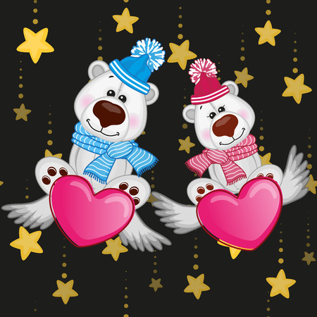cartoons animals: Valentine card with Lovers Polar Bears on the flying hearts
