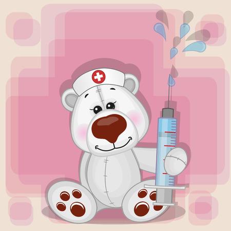 enfermera con cofia: Enfermera del oso polar con una jeringa en la mano