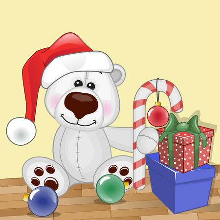 Christmas illustration of cartoon Bear in a Santas hat Vector