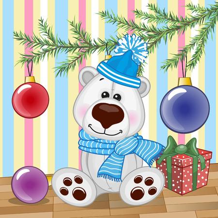 Cute Polar Bear under the Christmas tree Vector