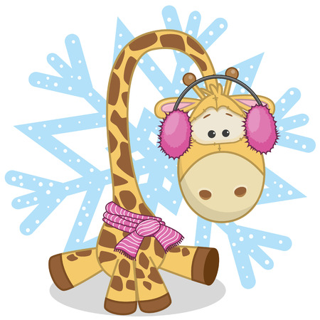 Giraffe in a fur headphones on the background of snowflake Vector