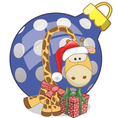 Giraffe in a Santa hat with gift Vector