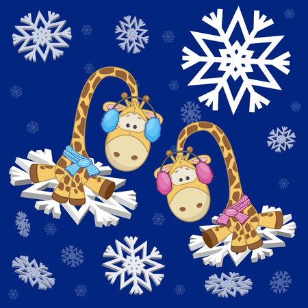 Two Giraffes at the snowflakes Vector