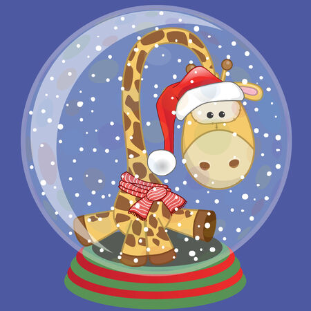 Christmas illustration of cartoon Giraffe in a Santas hat in a glass bowl Vector