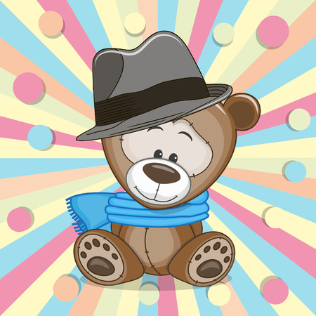 childbirth: Cute Teddy Bear wearing a scarf and hat on a colored background