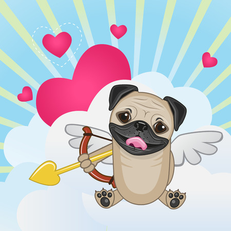 pug dog: Cupid Pug Dog with a bow on a background of clouds and hearts