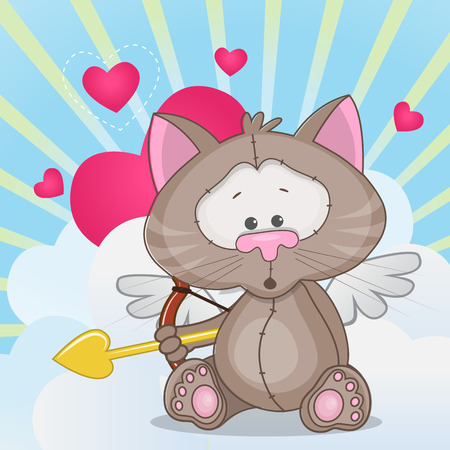angel cat: Cupid Cat with a bow on a background of clouds and hearts Illustration