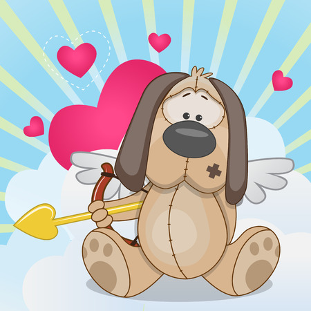 Cupid Dog with a bow on a background of clouds and hearts Vector