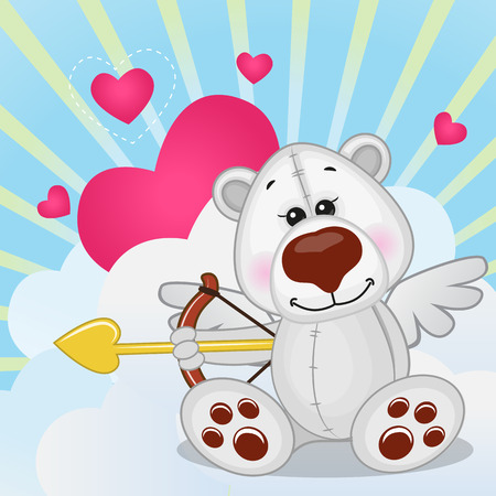 Cupid Polar Bear with a bow on a background of clouds and hearts Vector