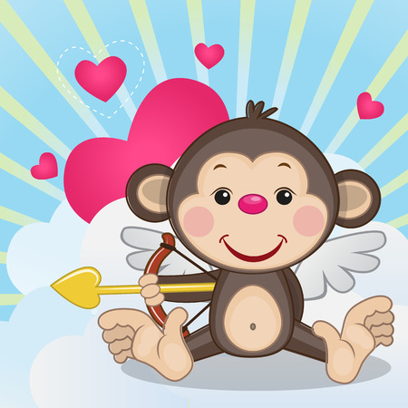flying monkey: Cupid Monkey with a bow on a background of clouds and hearts Illustration