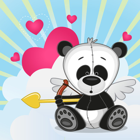 heart with wings: Cupid Panda with a bow on a background of clouds and hearts