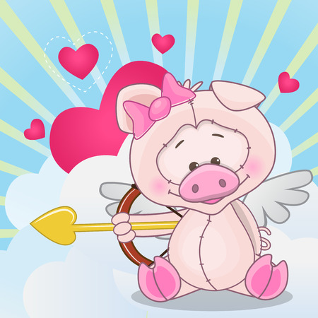 pig wings: Cupid Pig with a bow on a background of clouds and hearts