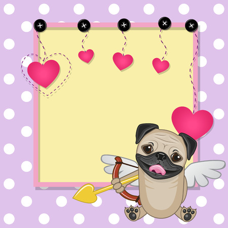 pug dog: Cupid Pug Dog with a bow on a background of frame