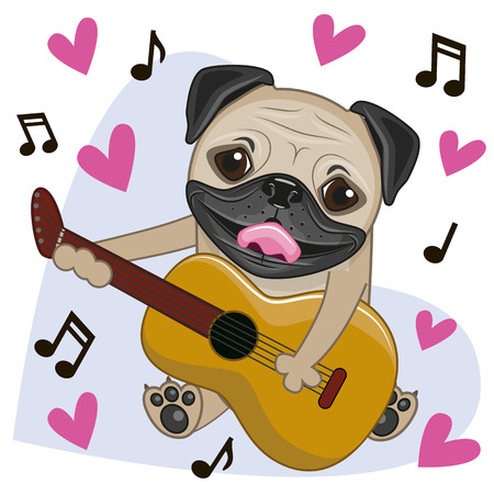 Pug Dog with a guitar on background music and hearts Illustration
