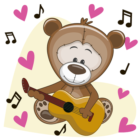 Teddy Bear with a guitar on background music and hearts