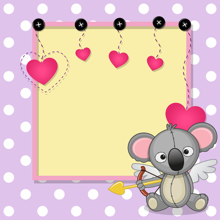 Cupid Koala with a bow on a background of frame Vector