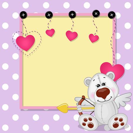 Cupid Polar Bear with a bow on a background of frame Vector