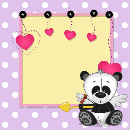 one panda: Cupid Panda with a bow on a background of frame