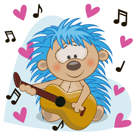 performing arts event: Hedgehog with a guitar on background music and hearts