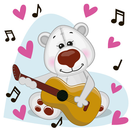 performing arts event: Polar Bear with a guitar on background music and hearts