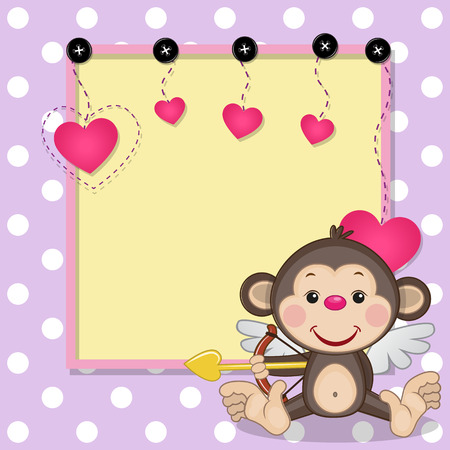flying monkey: Cupid Monkey with a bow on a background of frame