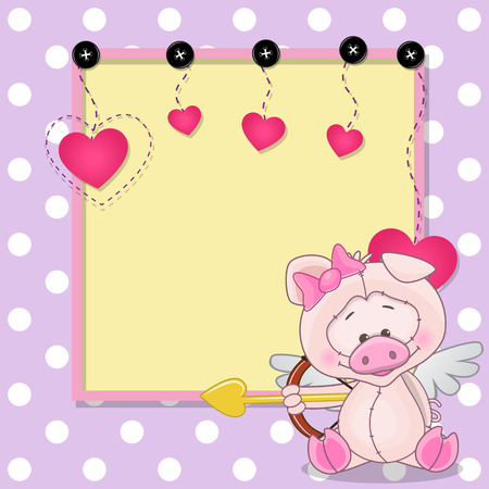 Cupid Pig with a bow on a background of frame Vector