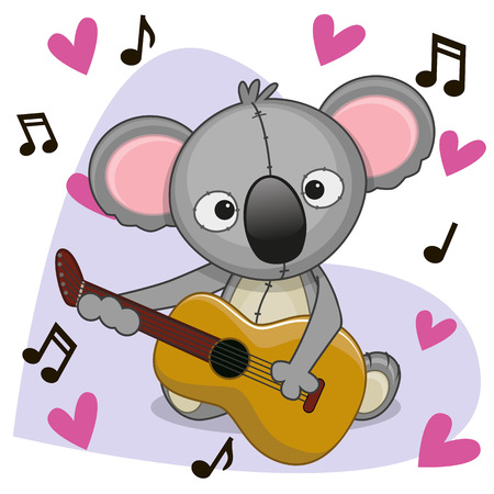 performing arts event: Koala with a guitar on background music and hearts