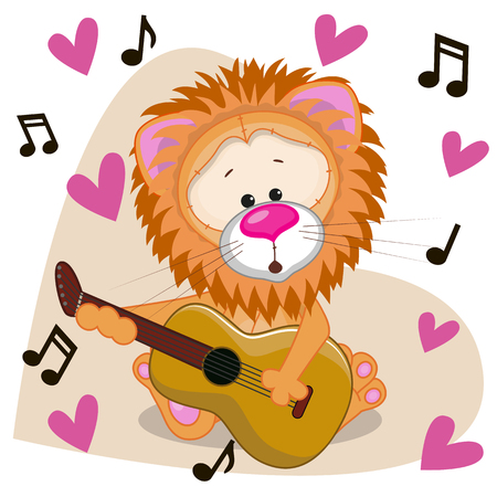 Lion with a guitar on background music and hearts Vector