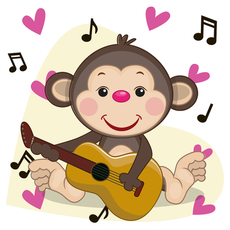 Monkey with a guitar on background music and hearts