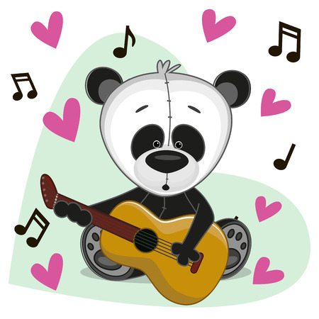 performing arts event: Panda with a guitar on background music and hearts Illustration