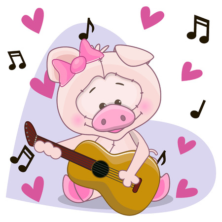 Pig with a guitar on background music and hearts Vector