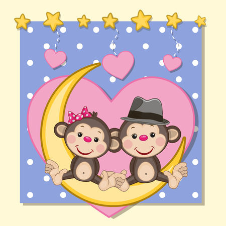 Valentine card with Lovers Monkeys on the moon Illustration